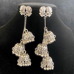 Boho peacock long earrings